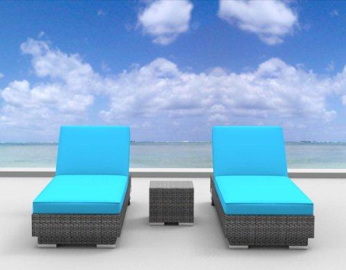 UrbanFurnishing.net 3a-boracay-seablue 3 Piece Modern Patio Chaise Lounger Set