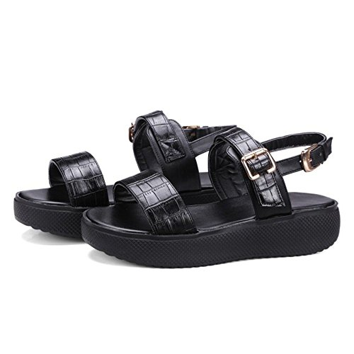 COOLCEPT Damen Mode Knochelriemchen Riemchen Sandalen Flach Open Toe Slingback Schuhe Gr Schwarz