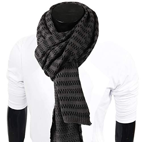 (Mens Thick Knitted Plaid Long Winter Scarf Shawl E5031 (E5071-Grey))