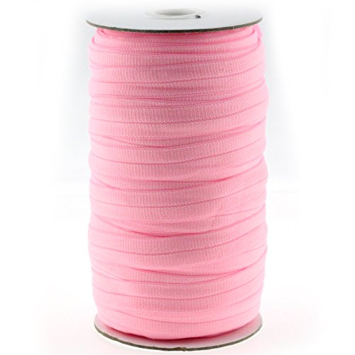 "Midi Ribbon Stretch Woven Knitted Grosgrain Elastic Band 5/8"" X 50 Yards/Roll-Can be fold Over-Color Pearl Pink-Handmade Waistbands, Sleeves, Legbands, Scrunching, Underwear Bra Sewing Supplies"