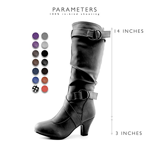 "DailyShoes Women's Slouchy Mid Calf Strappy Boots Ankle Top Straps - 2"" Heel Fashion Boots Black Pu W/ Side Pocket"