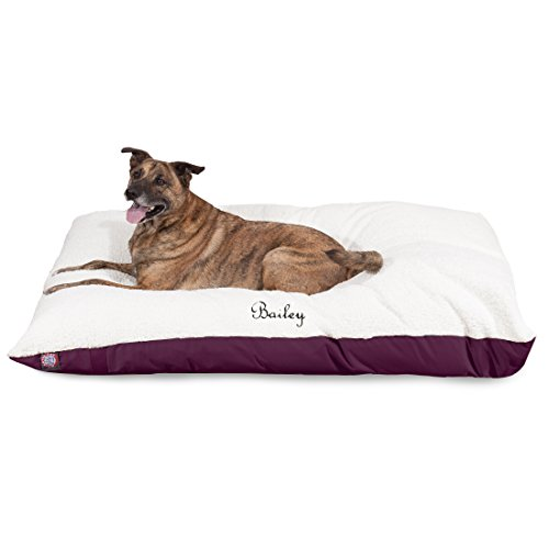 Majestic Pet Personalized Pet Pillow Dog Bed Custom Embroidered - Removable Pet Bed Cover - Small Medium Burgundy (Personalized Dog Mat)