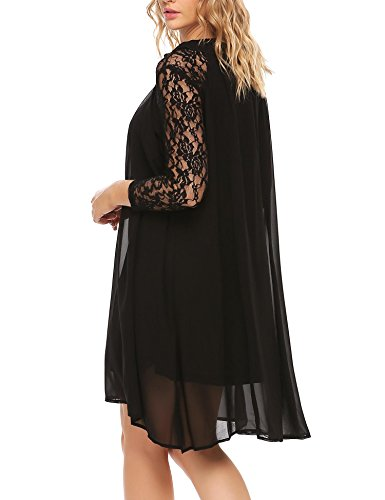 Sleeve Women Neck Casual ANGVNS Lace Dress Chiffon Loose Ruffles 4 3 Patchwork Black qXfxxAn