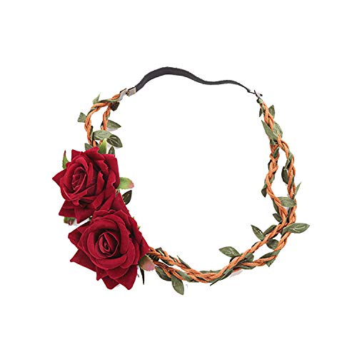 ShuangHong Million Christmas - Rose Rattan Wreath Hair Strap Seaside Holiday Mori Women's Wedding Photo with Accessories (Vine Length 36cm Stretch Rubber Band Length 15cm)