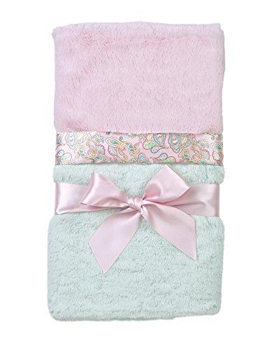 "Bearington Baby Lg Silky Soft Crib Blanket (Pink & Teal), 36"" x 29"""