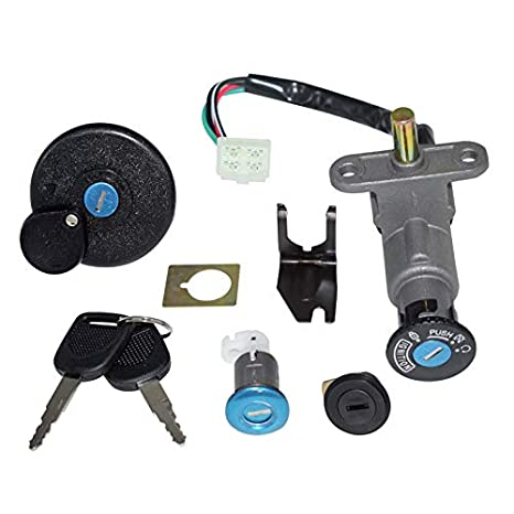 amazon com: 4 wires scooter ignition switch kit for gy6 50cc 125cc 150cc  moped chinese scooter parts tank fuel gas cap cover seat lock key set:  automotive