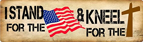 "BUMPER STICKER: I stand for the flag and kneel for the cross. Patriotic/Christian bumper sticker 3"" x 10"""