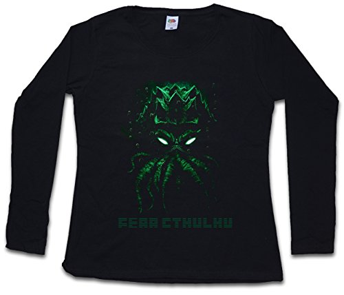 FEAR CTHULHU DAMEN GIRLIE LANGARM T-SHIRT - Wars Horror Arkham H. P. Lovecraft City Miskatonic Shirt Größen XS – 2XL