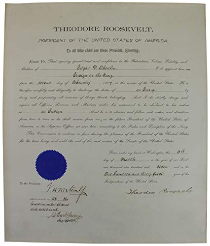 - Theodore Roosevelt Signed 16x19.5 1907 Military Appointment Document BAS #A57056