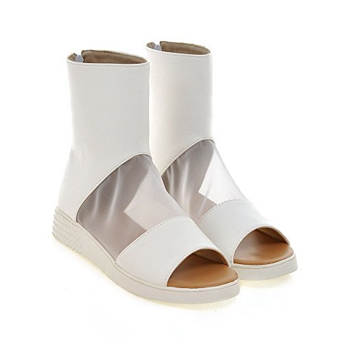 AllhqFashion Women's Solid Soft Material Low-heels Zipper Open Toe Wedges-Sandals White 5Cdseq3SF