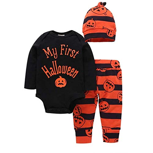 Newborn Infant Baby Outfit My First Halloween Pumpkin Long Sleeve Romper + Pants + Hat Clothes Set- (Black, 3-6 Months)
