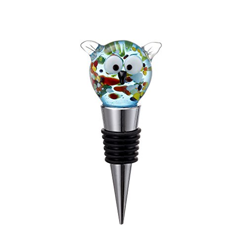 V-More Wine Beverage Liquor Champagne Bottle Stopper Wine Plug with Handmade Glass Owl For Bar Home Gift Holiday Party (Set of 1)