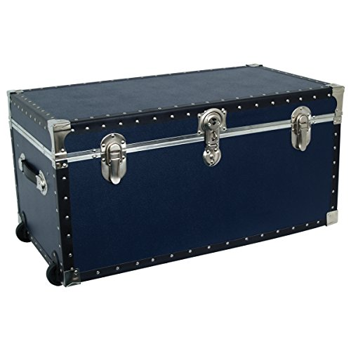 Seward Trunk Base Oversized Footlocker Trunk with Paper Lining, Interior Tray and Wheels, Navy Blue, 31-inch (SWD5531-61) - Navy Trunk