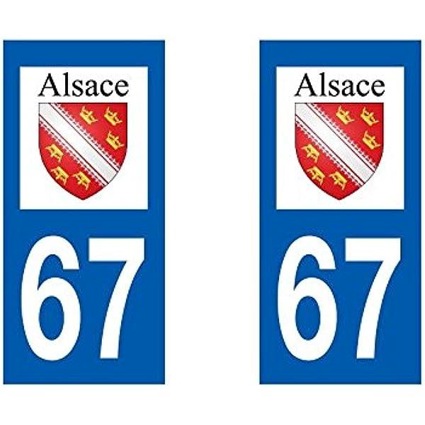 Arrondis Zone-Stickers 2 Autocollants Plaque Immatriculation 67 Alsace Bas-Rhin