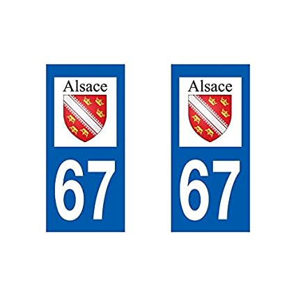 Automobilia 68 Haut-rhin Alsace Departement Immatriculation 2 X Autocollants Sticker Auto