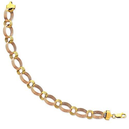 14 carats Bicolore-Festonné-Bracelet 19 cm-Fermoir mousqueton-JewelryWeb