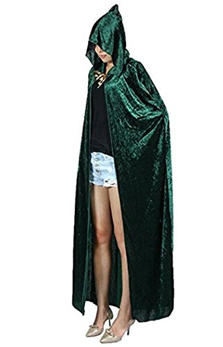 Women Holloween Costumes (Women Holloween Costume Full Length Velvet Hooded Cape Cosplay Cloak (L, Green))
