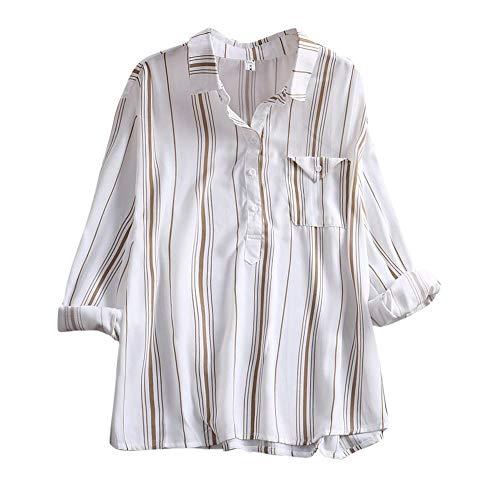 Blouse Tops Couleur T Bloc de Chemisier Longue Tops Bouton Sweat Tunique Tunique Manche Blouse Shirt Rayure Shirt de Lache Chemise Poche Sweat Chemise Chic Sexy Femme Femme Bleu Shirts v0wq0HB