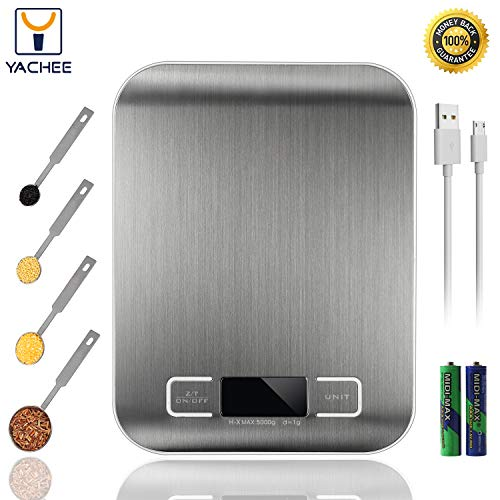 - Rechargeable Digital Kitchen Scale, Yachee Multifunction Rechargeable Food Scales with HD LCD Display, High Accuracy, Waterproof and Tare Function, 11lb/5kg Baking & Cooking Scale (Batteries Included)