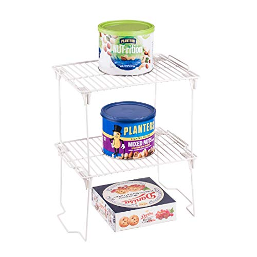 Small Stacking Shelf - Annaklin Small Metal Wire Stacking Shelf Rack for Kitchen Bathroom Pantry, Foldable and Stackable for Space-Saving, Freestanding Cabinet Pantry Bathroom Oganizer, Short, 2 Pack, White