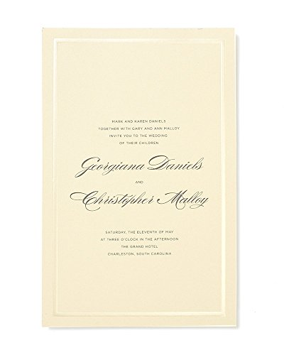 Pearl Foil Border Print at Home Wedding Invitation Kit