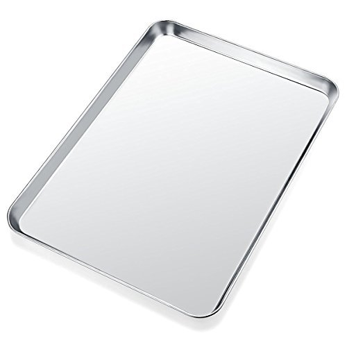 Stainless Steel Baking Pan, Umite Chef Large Cookie Sheet Set for Toaster Oven Tray Pans, Superior Mirror Finish, Nonstick Easy Clean, Dishwasher Safe, Rectangle 12 x 10 x 1 inch 18x10 Deep Dish