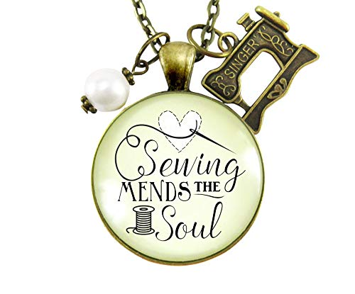 """24"""" Sewing Mends the Soul Seamstress Necklace Vintage Inspired Jewelry Gifts For Women Machine Charm from Gutsy Goodness"""