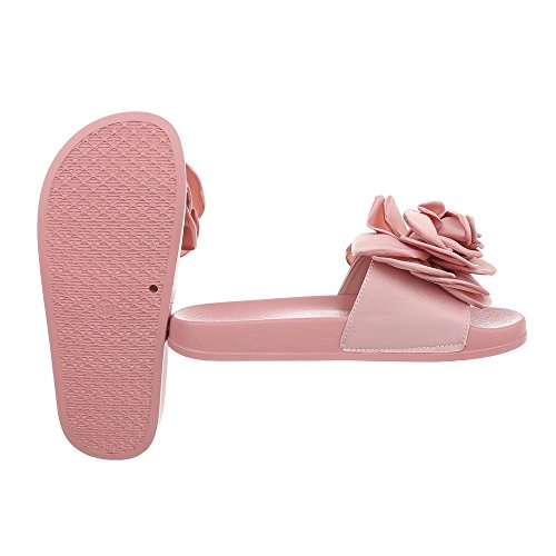 Ital-Design Zapatos Para Mujer Sandalias de Vestir Plano Zuecos Pink 830