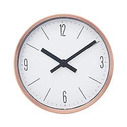 COMODO CASA Wall & Desk Clock- Metal Cooper Frame-Glass Cover-Non Ticking-Quartz Sweep-Silent 6 inch Classic Clock