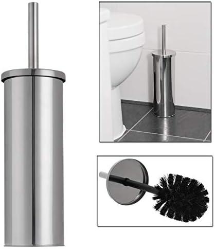 Epistar Toilet Brush Set Matte Finish Holder Stylish Modern Design Grey Stainless Steel Handle