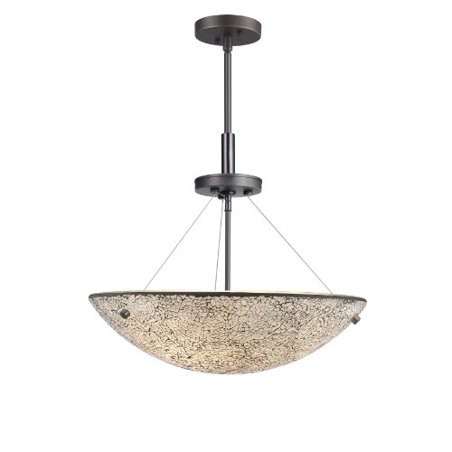 (Woodbridge Lighting 13620MEB-M50WHT 3-Light Dish Pendant, 17-1/2-Inch by 51-1/2-Inch Maximum, Metallic)