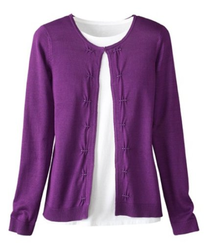 Coldwater Creek Beaded Tucks Cardigan  Bright Plum  Extra Small  4