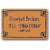 Doorbell Broken Yell Ding Dong Really Loud Custom Doormat Door Mat Machine Washable Rug Non Slip Mats Bathroom Kitchen Decor Area Rug 23.6x15.7 inch
