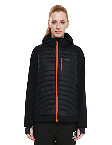 Hooded Tech Shell Jacket (PHIBEE Women's Windproof Outdoor Full-Zip Polyester Warm Softshell Hooded Jacket Black M)