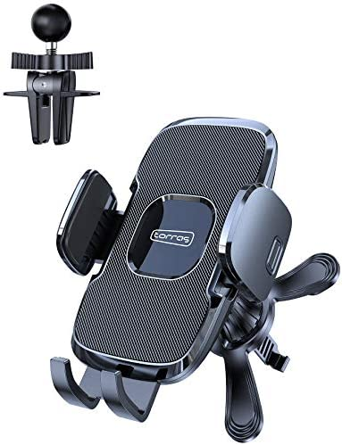 TORRAS Car Phone Holder Mount, [Upgraded Adjustable 2 Clips] Phone Holder for Car Vent, Universal Stronger Cell Phone Mount Cradle Compatible with iPhone 12 11 Pro Max XS X XR 8 Samsung S20 S10 All