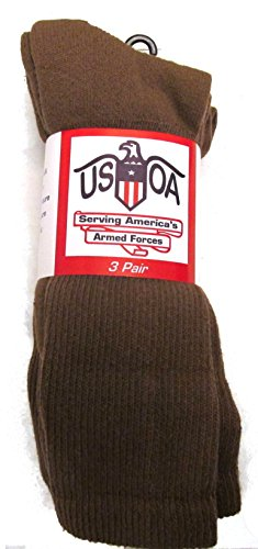 Men's Military Boot Socks COYOTE BROWN - 3 PAIR - LARGE (Boot Sock Silver)