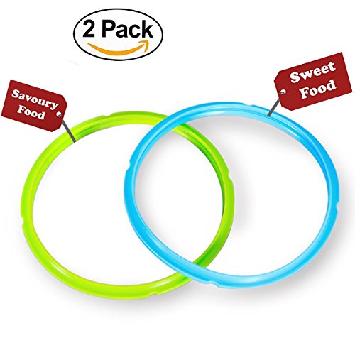 Silicone Sealing Ring – Seal Lasting & BPA-free – Fits IP-DUO60, IP-LUX60, IP-DUO50, IP-LUX50, Smart-60, IP-CSG60 and IP-CSG50 – Pack of 2 Blue & Green – By Super Kitchen