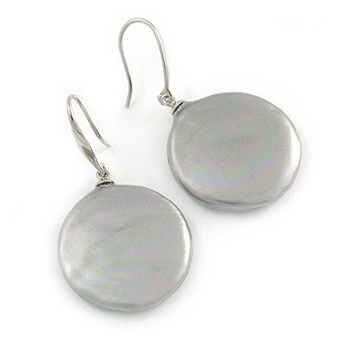 Light Grey Coin Shape Shell Drop Earrings In Silver Tone - 35mm L