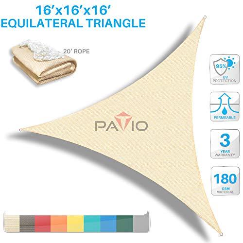 Patio Paradise 16' x16'x 16' Beige Sun Shade Sail Triangle Canopy - Permeable UV Block Fabric Durable Outdoor  - Customized Available (Block Patio Sun Ideas)