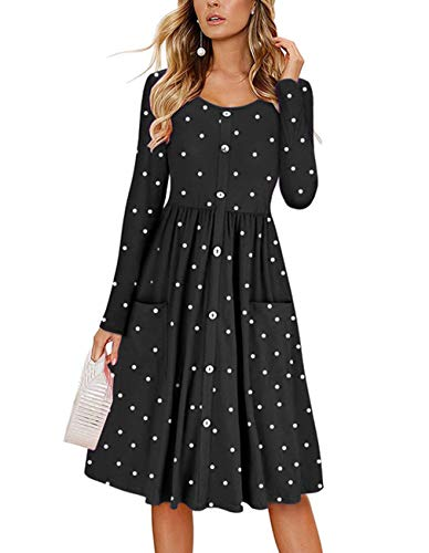 Midi Dot Black Button Women's Sleeve Down Pocket Long Casual Omerker Polka Dress Dress with Swing HRBTwqSS