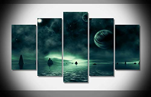 Sci Fi Landscape - Canvastyle 5pcs Sci Fi Landscape Artwork Stretched and Framed Modern Canvas Wall Art