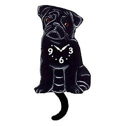 Black Pug Dog Wagging Tail Pendulum Clock