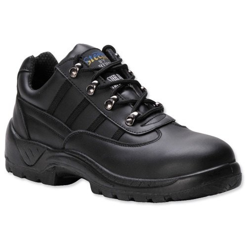 Portwest S1P Trainer Shoes Steel Midsole Buffalo Leather Chemical-resist Black Size 7 Ref FW25SIZE7