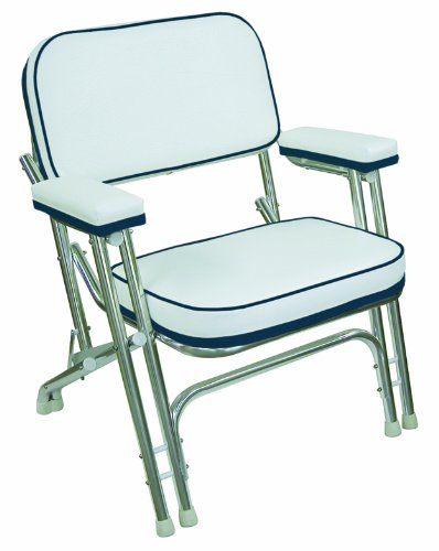 Wise Folding Deck Chair with Aluminum Frame, White/Navy