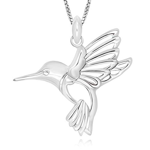 Hummingbird Sterling Pendant (925 Sterling Silver Hummingbird Pendant Necklace, 18