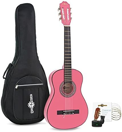 Paquete de Guitarra Espanola Junior de 1/2 de Gear4music Pink ...