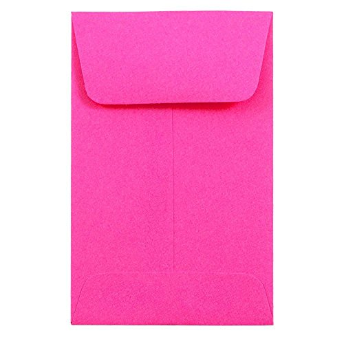 (JAM PAPER #1 Coin Business Colored Envelopes - 2 1/4 x 3 1/2 - Ultra Fuchsia Pink - 50/Pack )