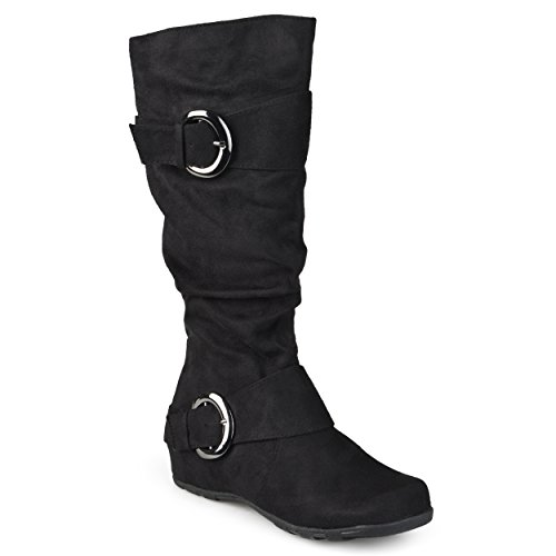 Journee Collection Womens Regular Sized and Wide-Calf Slouch Buckle Knee-High Microsuede Boots Black, 9 Extra Wide Calf US