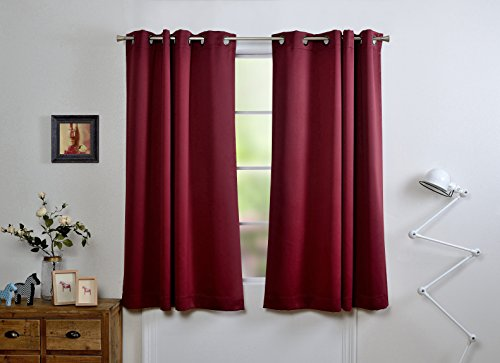 Mysky Home Dust Oil Waterproof Fire Flame Retardant Thermal Insulated Grommet Top Blackout Curtains for Living Room, 54 by 63 inch, Burgundy (1 Panel) Flame Retardant Curtains