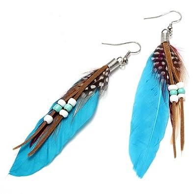 Boucles d'oreilles plumes indiennes